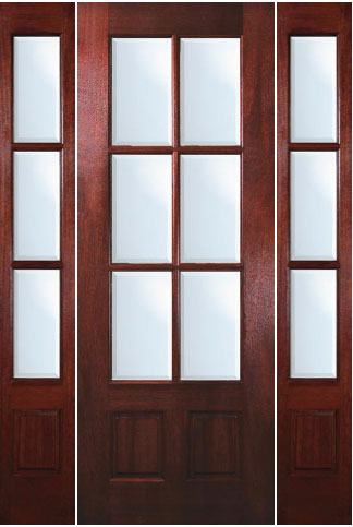 TDL 6 Light Mahogany Exterior Door With Sidelights