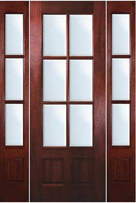 Mahogany Exterior Doors 6 Lite Door With Sidelites