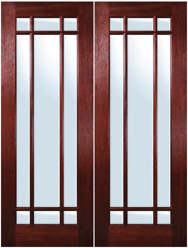 Mahogany exterior doors marginal 9 lite double door for 9 light exterior door