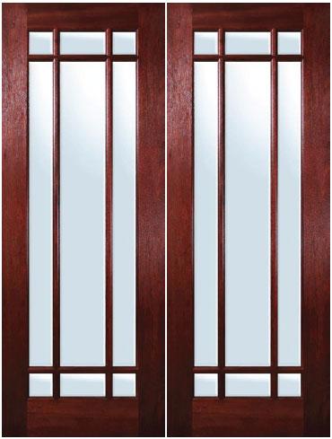 Mahogany Exterior Doors In Marginal 9 Lite Design