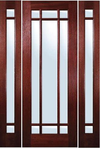 Mahogany Entryway Marginal 9 Lite Door With Sidelites