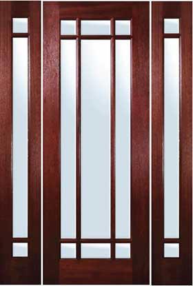 Mahogany Exterior Doors Marginal 9 Lite Door With Sidelites