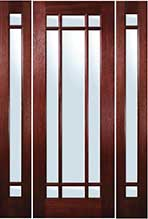TDL 9 light Mahogany Door with Sidelights Entry