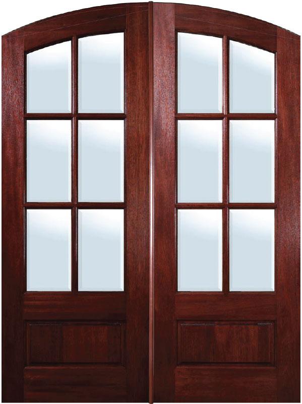 mahogany exterior doors 6 lite arch top double