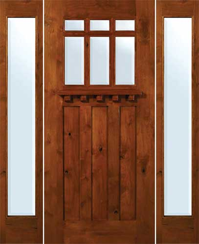 GC CMCBVIG1 Craftsman 6 Lite Entry Door In Knotty Alder With Sidelites And  Dentil
