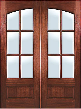 Mahogany Arch 6 Lite Double Entry Door