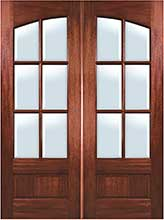 Square Top Arch 6-Lite Mahogany Double Door