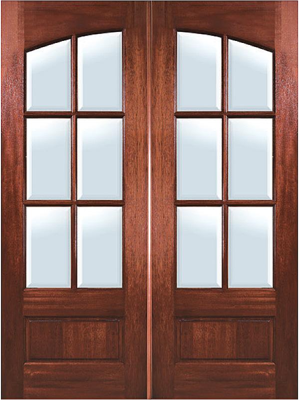 Mahogany Arch 6 Lite Double Entry Door