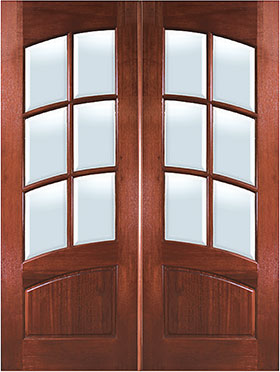 Mahogany Arch 6-Lite Arch-Rail Double Entry Door
