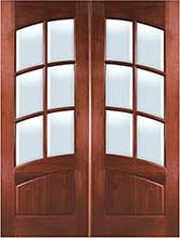 Square Top Arch 6-Lite Arch-Rail Mahogany Double Door