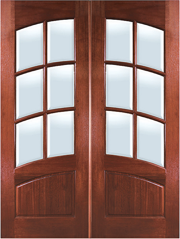 Mahogany Arch 6 Lite With Arch Rail Double Entry Door