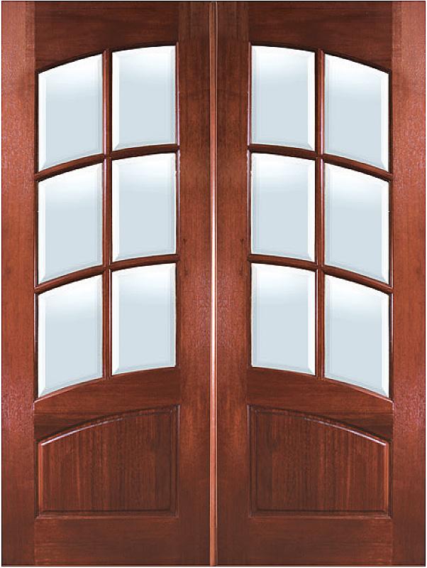 Square Top Arch 6-Lite Arch-Rail Double Door & Mahogany Entry Doors - Homestead Doors