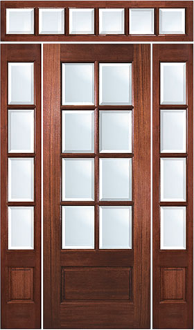 8-Lite Solid Wood Mahogany Entry Door with Sidelites and Transom