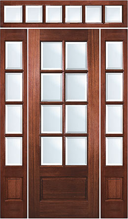TDL 8-light Mahogany Door entryway with sidelights and transom