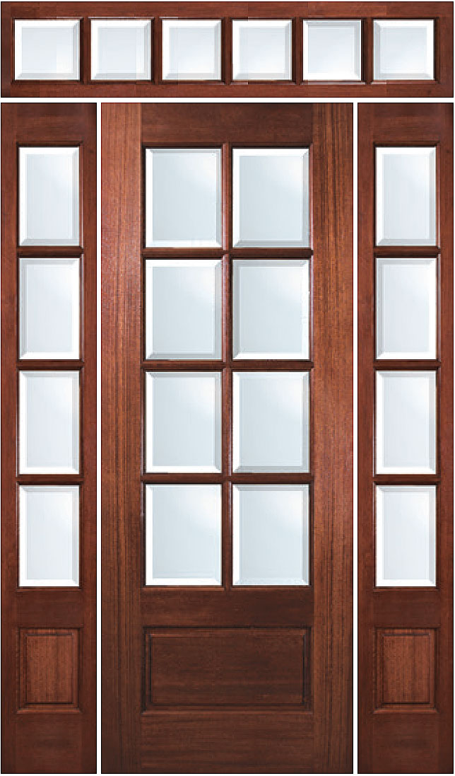 True Divided Lite 8 Lite Mahogany Entry Door With Sidelites And Transom