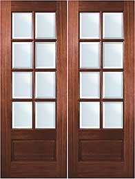 TDL 8-light Mahogany Exterior Double Doors
