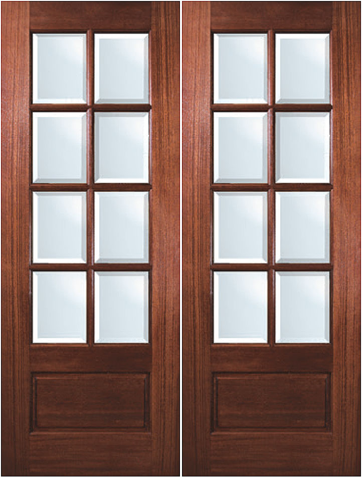 True divided lite solid mahogany 8 lite exterior double door for Double glass doors