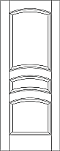 RP-3160 line drawing 3-panel door with arched rails and raised panels