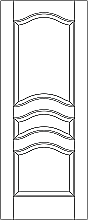 RP-3170  line drawing 3-panel door with eyebrow rails and raised panels