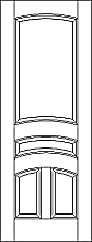 RP-4150  line drawing 4-panel door with eased arch rails and raised panels