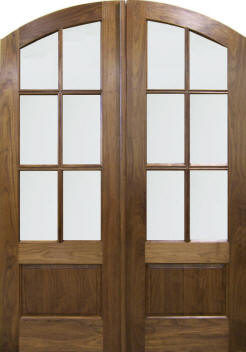 mating arch 6-light walnut doors