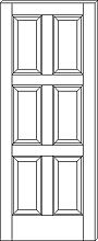 RP-6080 Contemporary 6-Panel Door