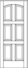 RP-6150 Contemporary 6-Panel Arch-Top Door