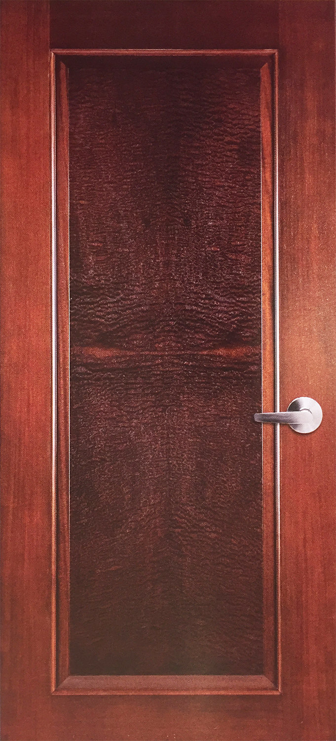 Mahogany Sketch Face Flush Door with Burl Veneer and Applied Molding ... & Flush Doors