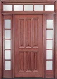 Exterior Mahogany Door   Vertical 6 Panel Design With Transom And Sidelites