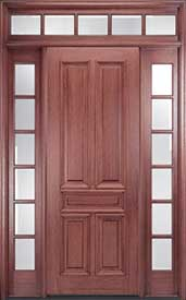 Mahogany 5-Panel Solid Wood Exterior Door with Transom and Sidelites