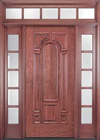 Exterior Mahogany Door - Vertical 6-Panel Design with Transom and Sidelites