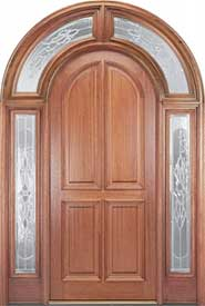 Entry Door - Mahogany 4-Panel Round Top with 224 Full Surround