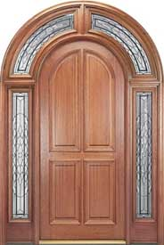 Mahogany 4-Panel Wood Entry Door with 228 Full Surround