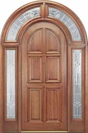 Mahogany Exterior Door Entryway - 6-Panel Round-Top with 221 Full Surround
