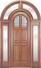 Mahogany 6-Panel Round Top Door with Clear Glass Surround Entryway