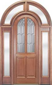 4-Panel Glass Mahogany Entry Door with Clear Full Surround