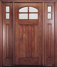 MIAHTC400P Craftsman Style Mahogany Arch-Lite Entry Door with Optional Sidelites