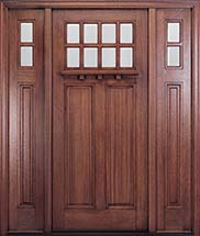 MIAHTC500 Craftsman Front Door with Optional Matching Sidelites and Dentil Shelf