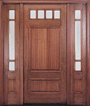 MIAHTC600 Craftsman Style Mahogany Entry Door with Optional Sidelites