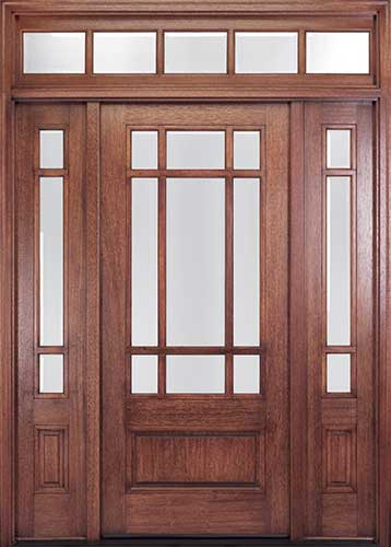 MIAHTC700 Craftsman Style Mahogany Entry Door with Optional Sidelites and Transom : transom doors exterior - pezcame.com