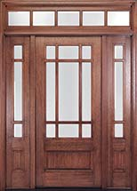 MIAHTC700 Craftsman Style Mahogany Entry Door with Optional Sidelites and Transom