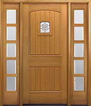 MIAWP400P Craftsman Style Mahogany Exterior Door with Planking and Speakeasy