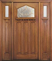 MIAWP701G Craftsman Style Exterior Door with Optional Matching Sidelites and Dentil Shelf