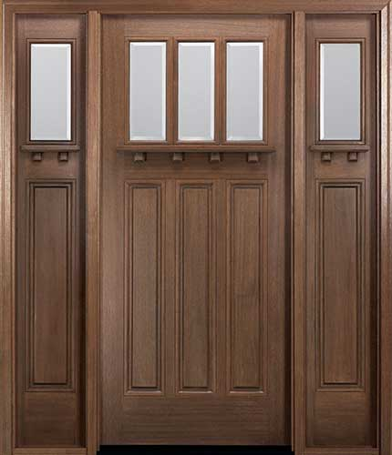 Beau MIAWP800G Craftsman Style Mahogany Entry Door With Optional Matching  Sidelites And Dentil Shelf