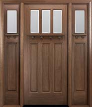 MIAWP800G Craftsman Style Mahogany Entry Door with Optional Matching Sidelites and Dentil Shelf