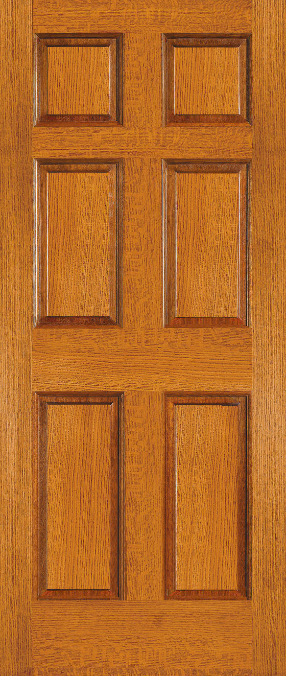 Quartersawn red oak doors 6 panel hardwood interior doors