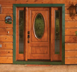RV-4060 Knotty Alder Exterior Door with 4750 sidelites Catalina glass and Patina Caming