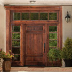 RV 4093 knotty alder exterior custom door with sidelites and transom