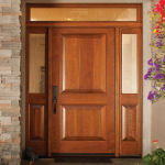 5082ARP Cherry Exterior Door with 5702ARP Sidelites 6701 Transom Seedy Baroque Glass