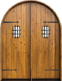 Charmant Knotty Alder Round Top Plank Style Double Exterior Wood Door